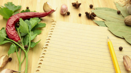 spice and herb with paper tracking Footage