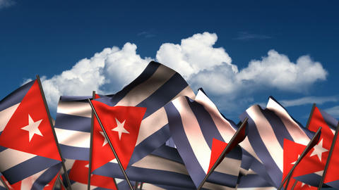 Waving Cuban Flags Animation