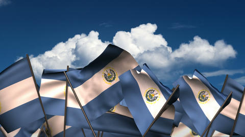 Waving El Salvadorian Flags Animation