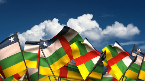 Waving Central African Flags Animation