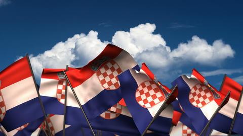 Waving Croatian Flags Animation