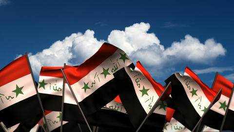 Waving Iraqi Flags Animation