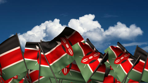 Waving Kenyan Flags Animation