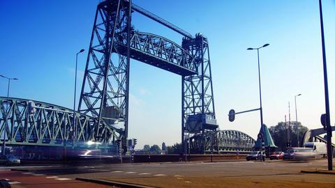 Railway lift bridge De Hef or Koningshavenbrug in Rotterdam, time lapse Footage