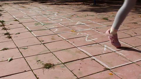 Girl on the hopscotch Footage