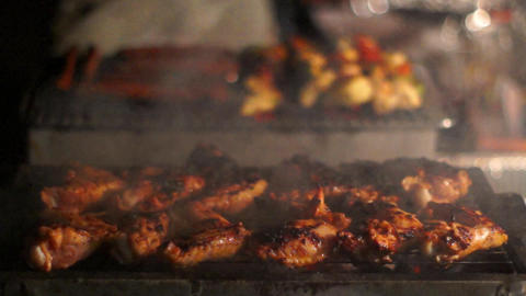 Meat On The Grill stock footage