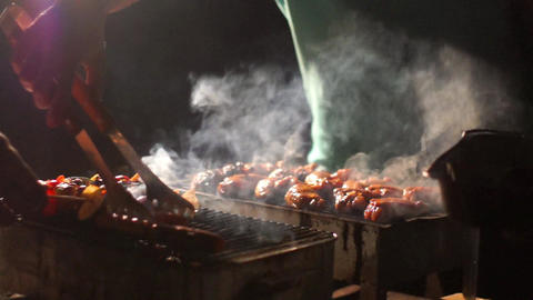 Meat on the grill Footage