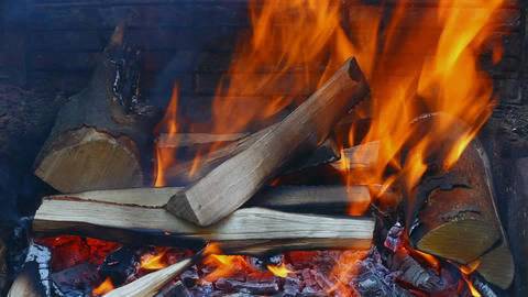 Burning Wood stock footage