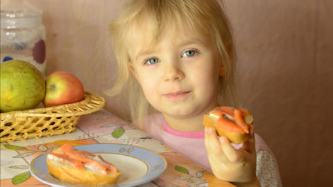Funny Cute Little Girl Eat Salmon Fish Live Action