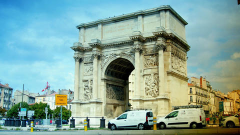 View of Triumphal Arch in Marseilles, Porte d'Aix, time lapse, 4k to multimedia Footage