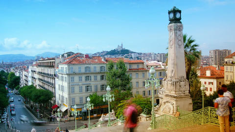 view from the main straircase of the central railway station Marseille, France,t Footage