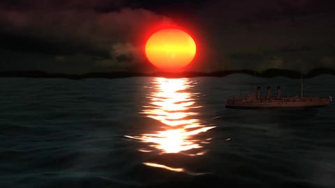 Ship Cruiser on The Beauty Sunshine Sea Stock Video Footage