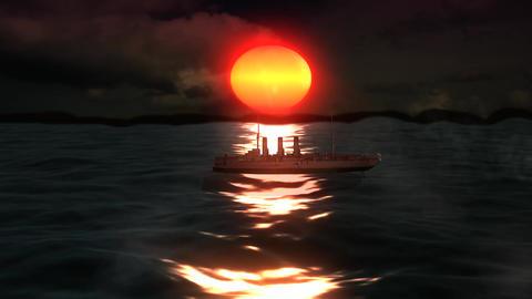 Ship Cruiser on The Beauty Sunshine Sea Footage