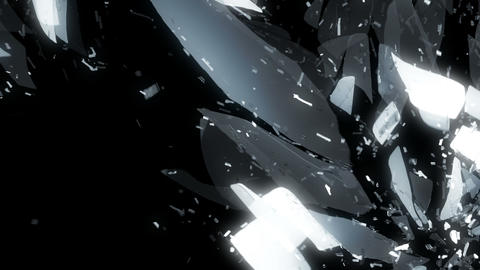 Glass shattered in slow motion and motion blur. Alpha Animation