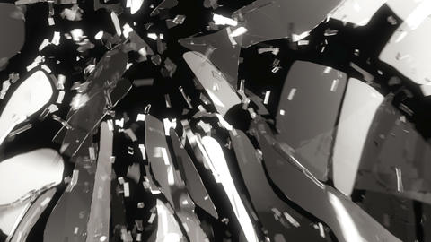 Glass shattering slow motion and motion blur. Alpha matte Animation