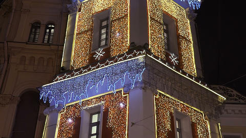 Tower with garlands on Nevsky Prospekt in St. Petersburg Footage
