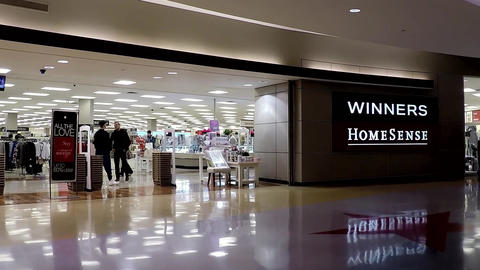 Entrance of Winners homesense store inside Burnaby shopping mall Footage