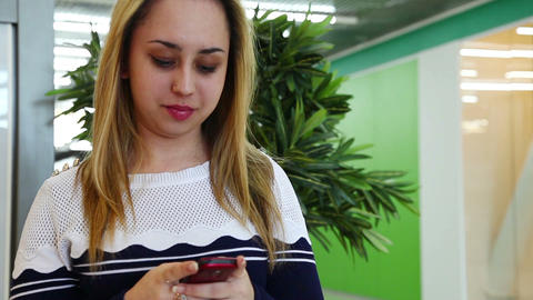 Girl Using Smartphone To Send Short Message Footage