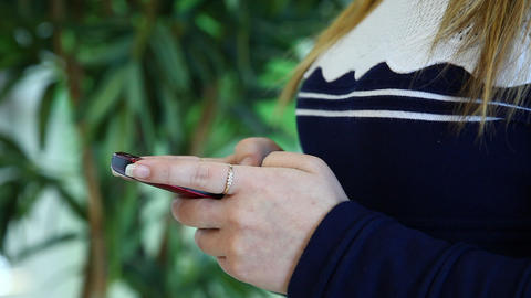 Closeup Of Young Woman With Smartphone Footage