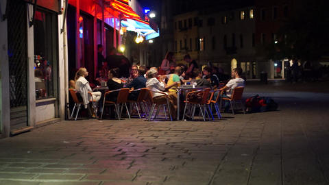 Scenes of Nightlife in Venice Italy (7 of 10) Live Action