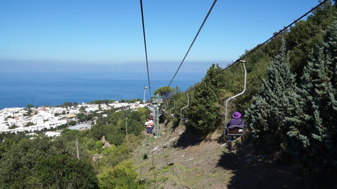 View from the Mount Solaro Chair lift on the Isle of Capri (3 of 7) Footage