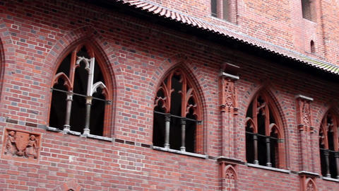 Right Pan Of Cloisters Of Malbork Castle - Upper Castle stock footage