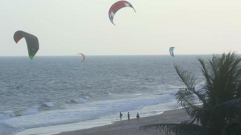 Kite surfers ashore Footage