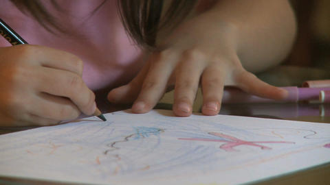 Girl Drawing Pencils stock footage