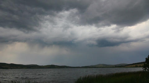 approaching storm - storm clouds over lake Footage
