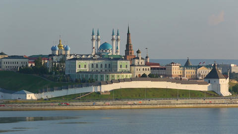 kazan kremlin with reflection in river at sunset - russia Footage
