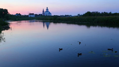 view on Kamenka river in Suzdal Russia at dusk Footage