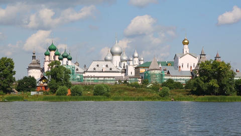 Kremlin in Rostov the Great, Russia, view from the Nero lake Footage