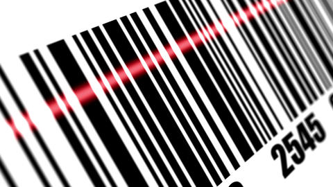 Scanner scanning barcode on with background Animation