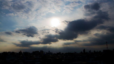 City and Sun ray cloud timelapse Footage