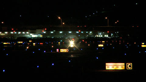 small airplane runway night Footage