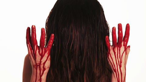 lady with blood pouring down her hands Footage
