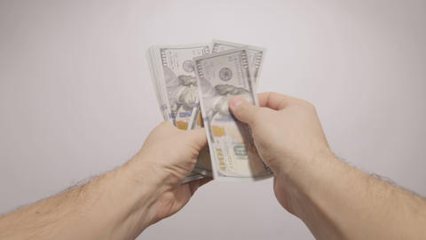 pov hands counting dollars Footage