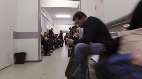 The Corridors Of The Hospital. The Patients In The Clinic stock footage