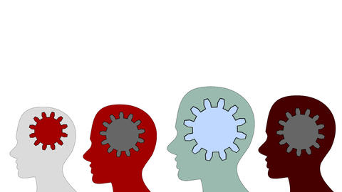 Gears rotate inside the brain power of teamwork on white background, animation,  Footage