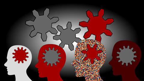 Gears rotate inside the brain power of teamwork, animation, cartoon Footage