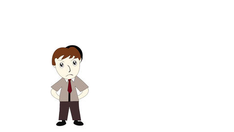 Business man thinking on a white background screen cartoon man with an idea Footage