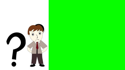 Business Man Thinking On A Green Background Screen, Cartoon Man With An Idea stock footage