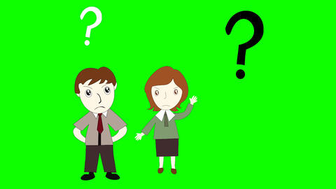 Business man and business woman thinking on green background screen, cartoon man Footage
