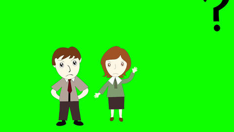 Business man and business woman thinking on green... Stock Video Footage
