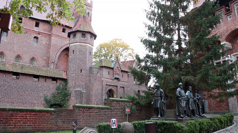 Right pan of medieval fortress - Statues of the Teutonic Grand Masters Footage