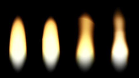 Four flames of a candle. loop Animation