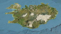 Iceland, glide over the map, outlined Animation