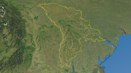 Moldova, glide over the map, outlined Animation