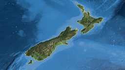 New Zealand, glide over the map, outlined Animation