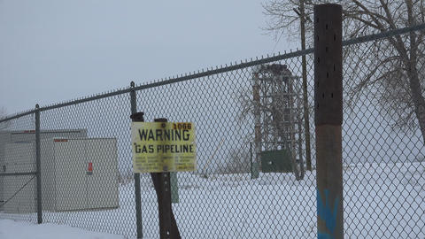 Gas Pipeline Old Factory Fenced Off Footage